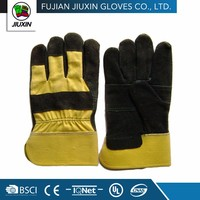 Yellow Working Driver leather construction safety Glove