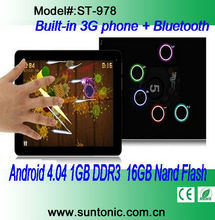 9.7 inches Tablet PC Android 4.04 1GB DDR3 16GB Nand Flash with Internal 3G WCDMA/EVDO capacitive touch screen