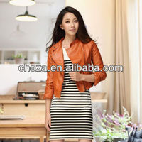 C20378A AUTUMN LATEST WESTERN STYLE LADY LEATHER MOTORBIKE ORANGE JACKET