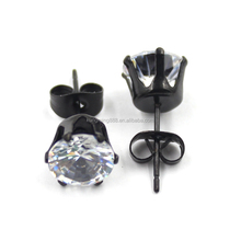 Black Stainless Steel CZ stone Stud Earrings with 6 prongs , Handmade rhinestone black ear stud