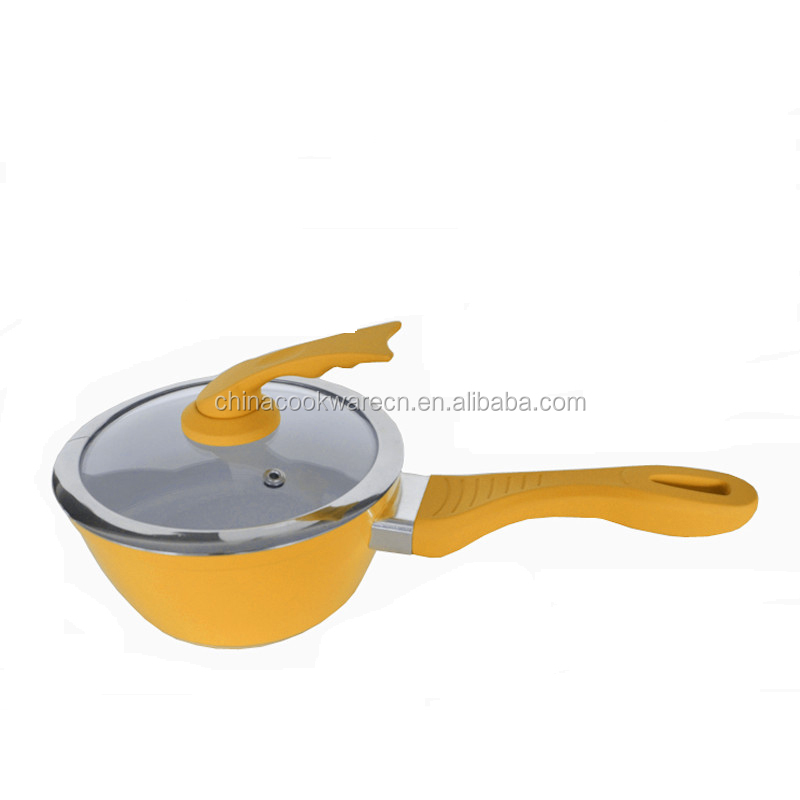 as seen on tv 2015 new design product mini orange painting cooking pan with tempered lid forged saucepan