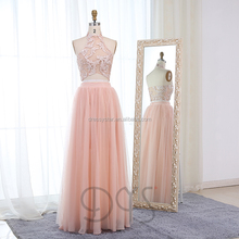 2018 new <strong>designer</strong> two piece long pink formal dress prom dress