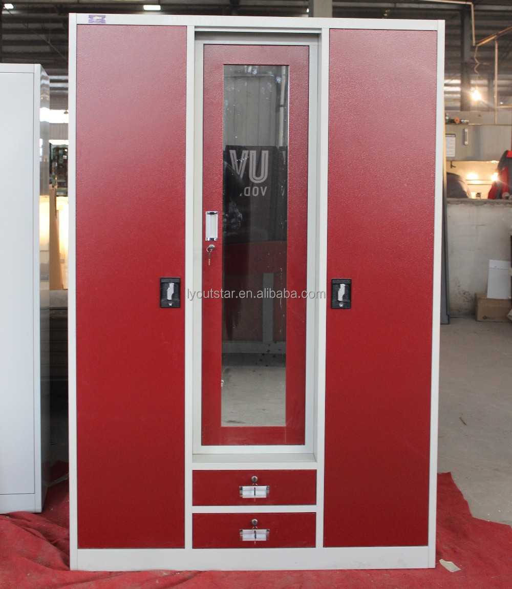 New product red 3 door steel wardrobe with mirror and safes inside