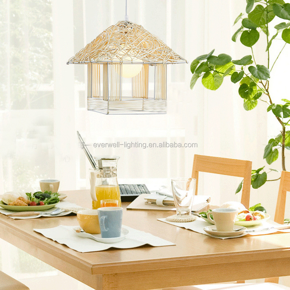 contemporary house shaped decorative rattan pendant lamp