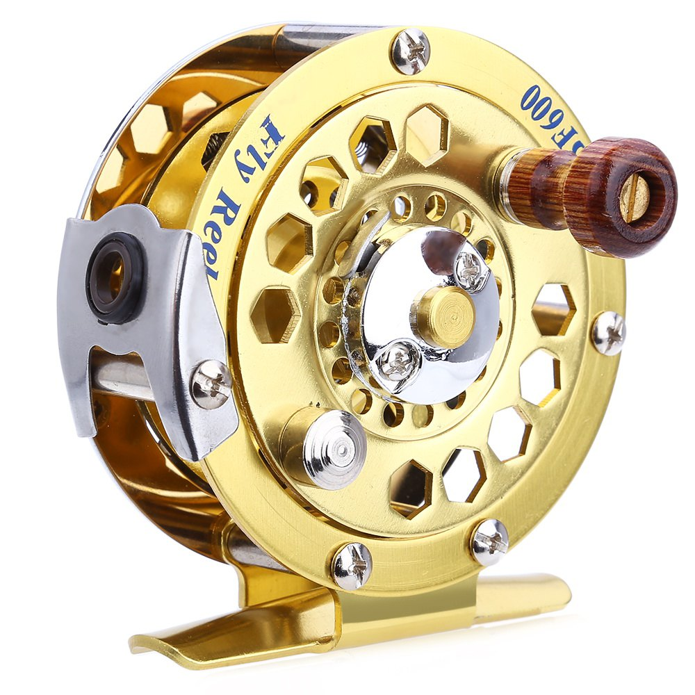 BF600 Portable Mini Gold Aluminum Cut Fly Fishing Vessel Reels Disk Drag with Retail Box