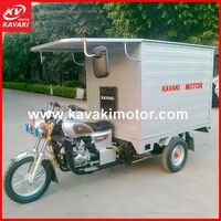 Big closed delivery box China three wheel covered motorcycle / 3 wheeler cargo tricycle / t-rex motorcycle with cabin
