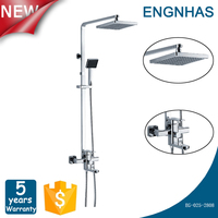 Surface Mounted Chrome Square Shower Head Mixer Faucet Set