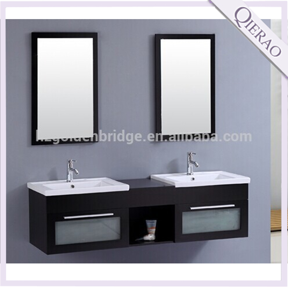 Qierao 149251Ghana Commercial Double Sink Wall Mounted Bathroom Vanity Units