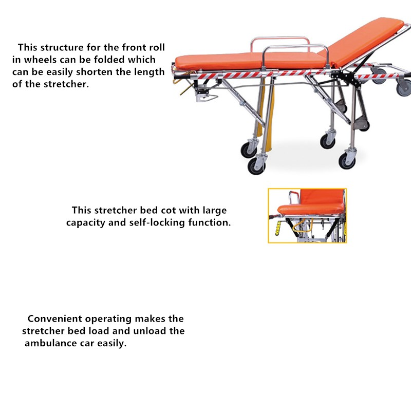 DW-SS003 stainless steel folding ambulance stretcher for emergency medical