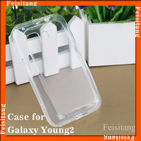 Transparent pc tpu soft shell back cover case for Samsung galaxy young 2 g130