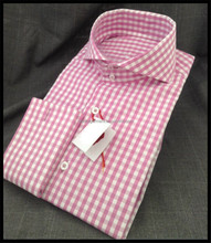 Men's Elegant high quality Long sleeve cutaway-collar pink plaid business shirt