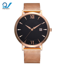 custom stainless steel watches pvd rose gold plating milanese strap quartz movement with date