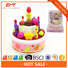 Fancy birthday gift battery operated plastic birthday cake model toy with music light for sale