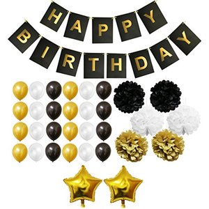DMTC060 Wholesale Gold And Black Theme Happy Birthday Party Decorations Sets With Latex Balloons Banner Pom Pom Party Favor