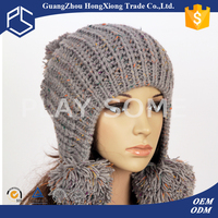 High quality best price knitting earflap womens hats