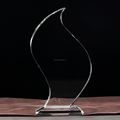 Optical Crystal Flame glass trophy award in stock