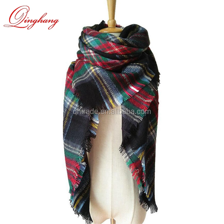 Lovely Best Gift Good Quality 20 Colors Ladies Vintage Wrap Scarf Elegant Tartan Plaid Scarf Shawl