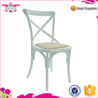 wholesale price wooden rattan cross back dining chair