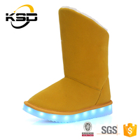 Fur Lining Led Light Up Kids Snow Girl'S Fashion Child Boot For Winter