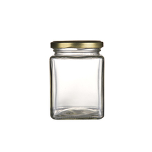 Food storage square mason jars 380ml glass jar with metal lid