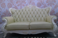 Antique reproduction furniture wholesale , European wood frame white leather sofa