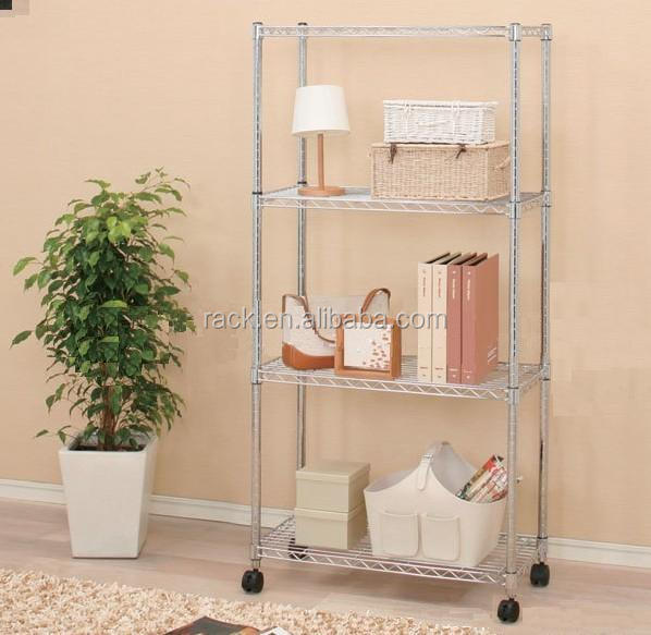 Chrome Metal Adjustable 4 Tiers Storage Shelf with Wheels for Home