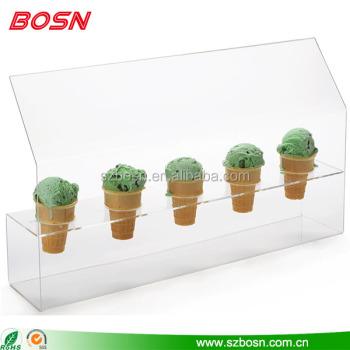 5 slot acrylic 3D ice cream kiosk design plexiglass gelato display stand rack