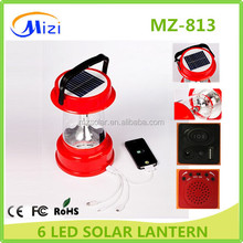 rechargeable 6 LED Lantern Solar Powered Camping Outdoor Lamp Light Rewith USB mobile charger FM Radio