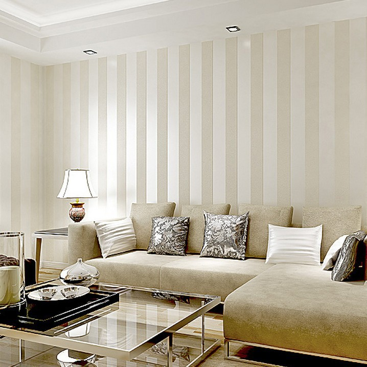 metallic wide stripe modern wallpaper for living room
