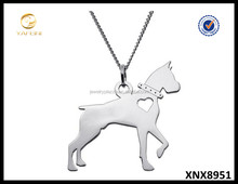 Sterling Silver Boxer Dog Silhouette Pendant Necklace Wholesale Jewelry