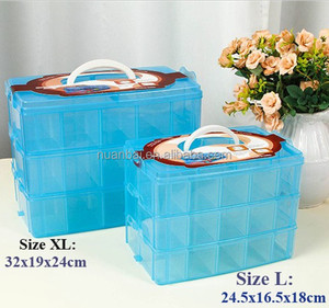 32cm XL Size Three layers Clear Portable Plastic Tool Organizer Container Divider Storage Bin&Box Tackle box