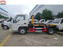 mini small 3000 liters Foton truck mounted hydraulic hook arm lifting dischargeable tank truck with diesel engine