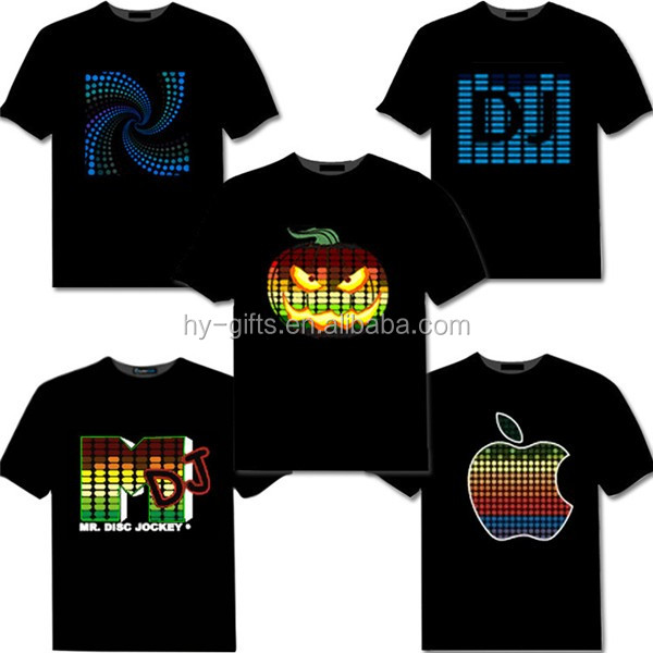sound actived custom el t shirt with logo party favor led el t shirt