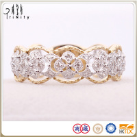 Hot Sales 18K Real Gold Diamond Wedding Band Ring Set Wholesale