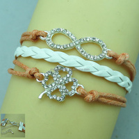 2014 NEW four leaf clover rhinestone bracelet leather braided rope bracelet for women&men FB087