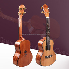 24 Inch High-glossy Red Cedar Solid Wood Body Ukulele for Guitar Beginners and lovers