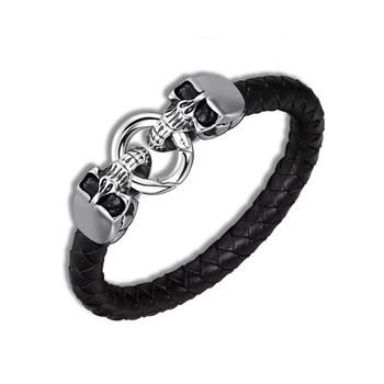 Punk Accessories Jewelry Men Leather Bracelets with Skulls