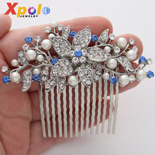 Fashion Royal Sapphire Blue Bridal Hair Comb Wedding Accessories