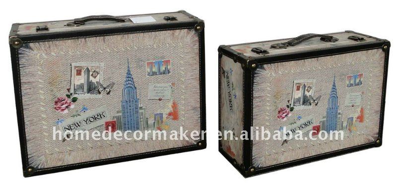 New York City Design / Antique Craft Suitcase Set