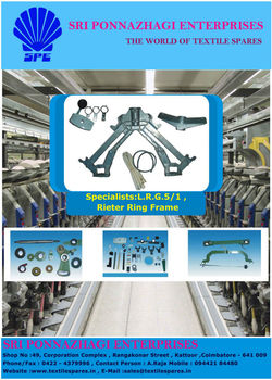 Spinning of Textile Machinery Spares