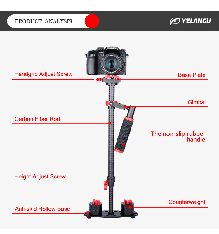 YELANGU S60T Black Carbon Fiber Camera Stabilizer For Dslr Factory Price DV Video Stabilizer