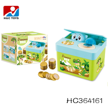 2017 New gift money saving box plastic kids dinosaur piggy bank HC364161