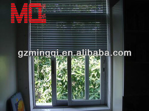 Indoor Aluminium sliding tempered glass window ,Aluminium roller blinds factory in guangzhou China