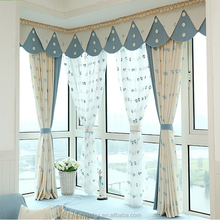 keqiao fabric cushion cover fabric curtain, linen embroidery curtain with matching window curtain