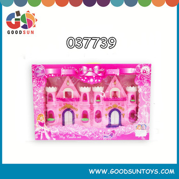 plastic villa,house,castle,family set toy w/light & music