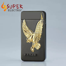 2017 Electronic Lighter emboss Black Eagle Dual arc Lighter USB rechargeable ligter With Gift Box Packing