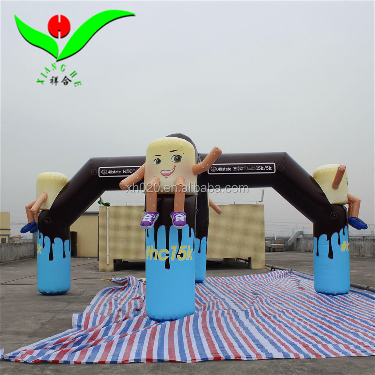 2018 commercial PVC chocolate cartoon event start and finished 20ft inflatable arch