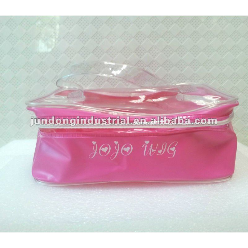 #JDC2101 PVC cosmetic packaging bag in pink color for skin care product