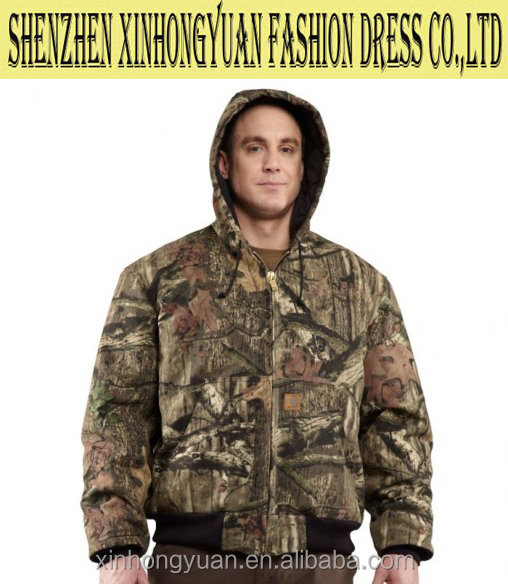 Quilted-flannel lined camouflage active jacket, functional for workwear, winter outdoor wear,