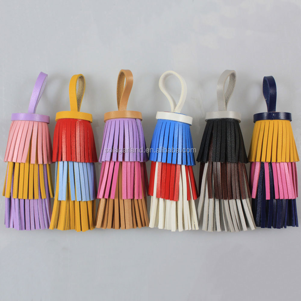 132*45MM Women's Handbag Accessories Tassel Charm Three Tier Faux Leather Triple Fringe